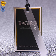Sinicline silver foil hang tag design custom logo thick paper swing tag for suits