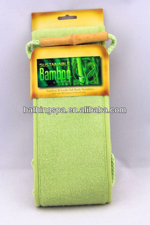 Hot selling bamboo and loofah full body scrubber
