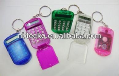 Mini plastic calculator with keyring