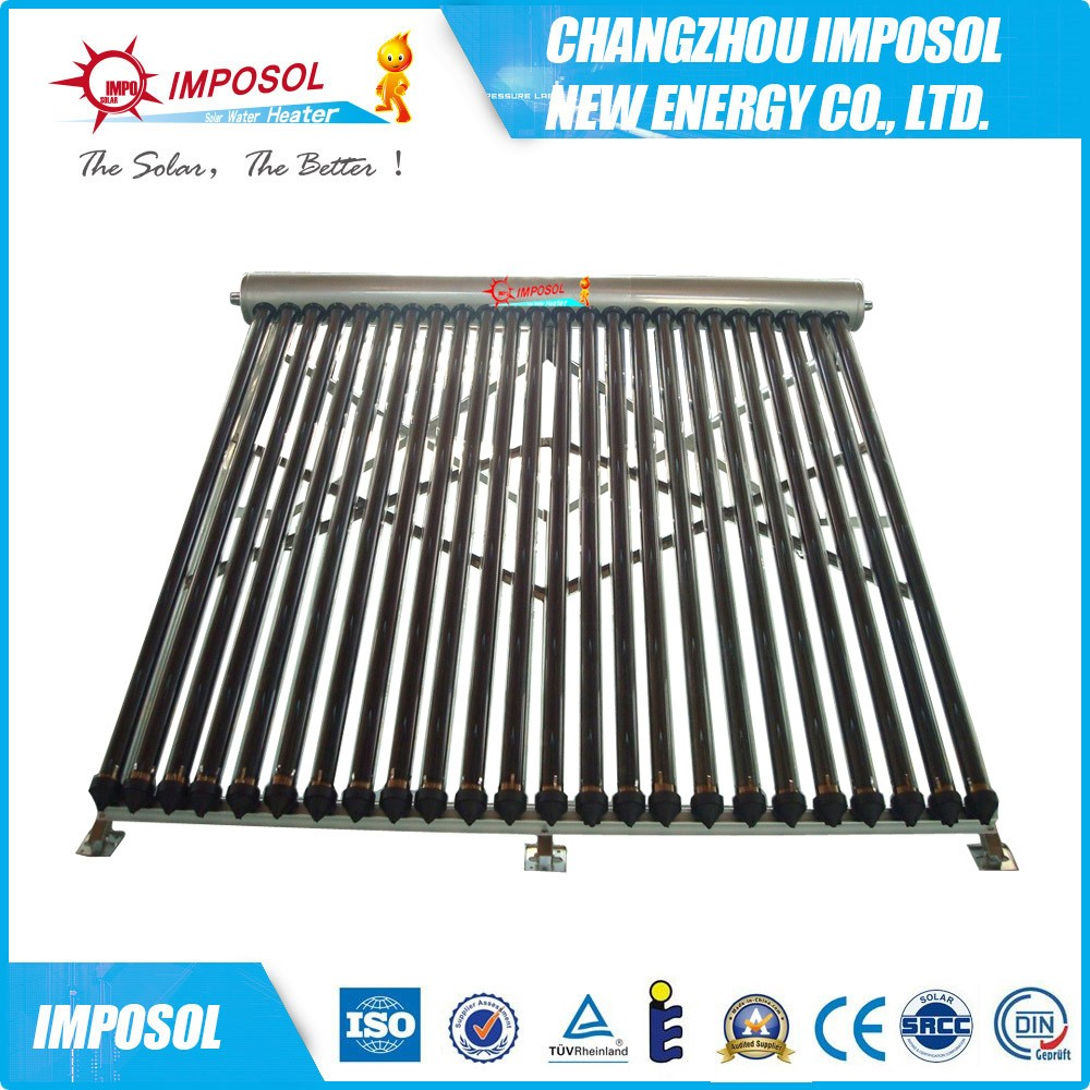 horizontal vacuum tube solar collector on wall, manifold solar collector with heat pipe
