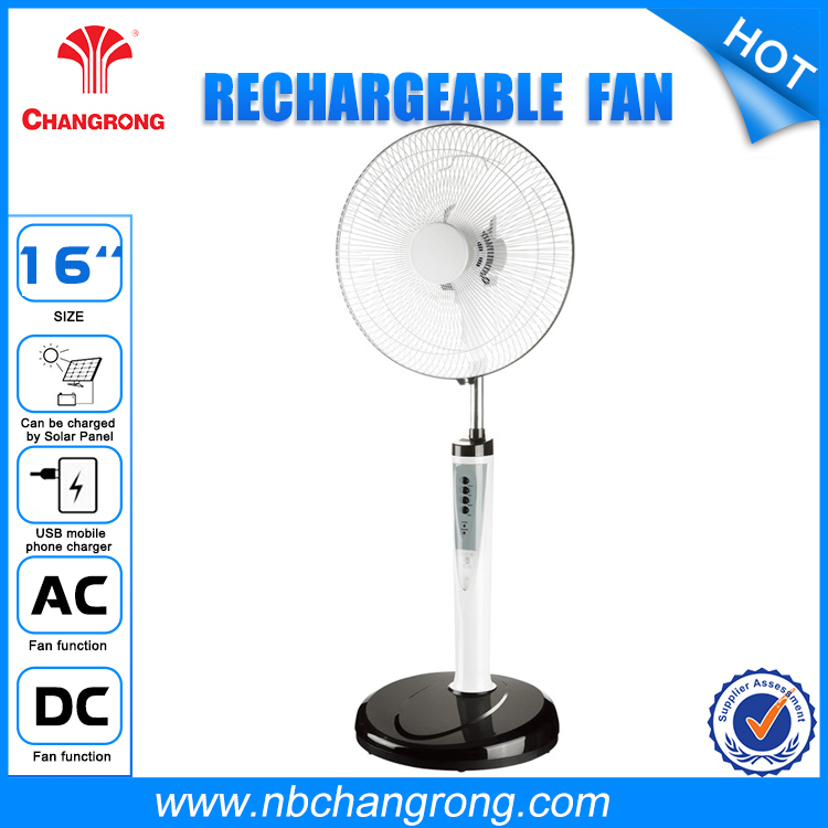 Battery Power Source Plastic Material Solar Rechargeable AC fan