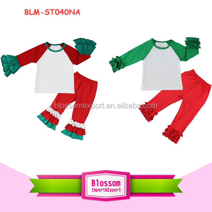 Christmas outfits wholesale alibaba red/green ruffle sleeve raglan shirts matching ruffle pant boutique girl Christmas outfits