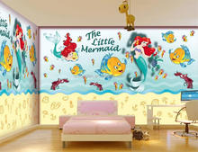 Kids baby room wallpaper custom photo mural non-woven wall sticker Ariel little mermaid painting bedroom wall mural wallpaper