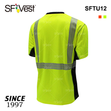 canton fair wholesale mens dry fit t shirts for workers high visibility traffic t-shirt with pocket black security guard uniform