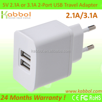 15W 5V 3.1A Dual USB Charger for Apple iPad Mini/4/3/2/1,Samsung Note 2, Note 3, S3, S4, S5