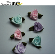 Beautiful pink polyester single-face satin ribbon flowers artificial mini roses