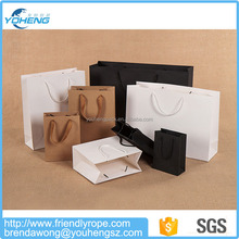 Promotional custom logo printed brown recyclable kraft paper bag for cloth and shopping