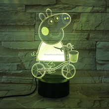 Peppa Pig shape 3d visual lamp illusion led night light for kids gift
