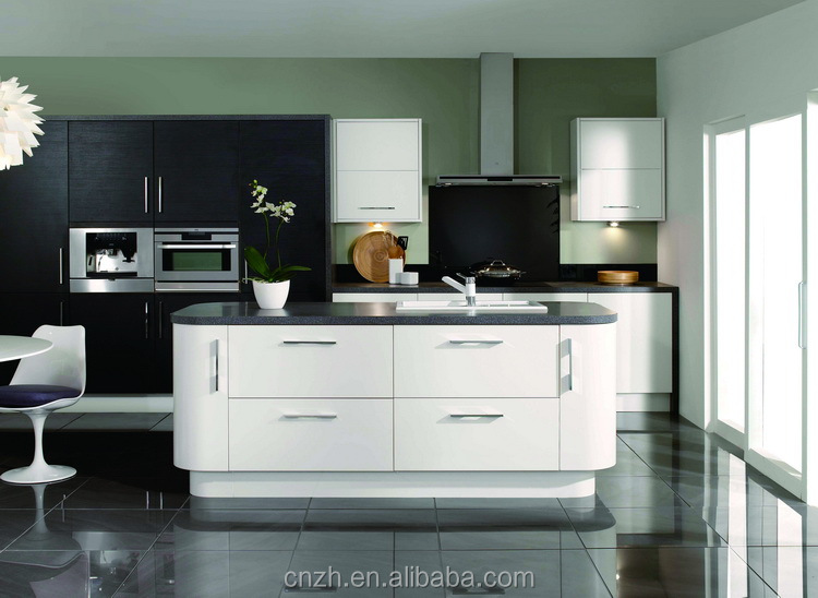 CE approved luxury high end integrated lacquer kitchen cabinet with glass door for homes furniture