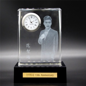 China High Quality K9 Crystal 3D Laser Engraving Clock
