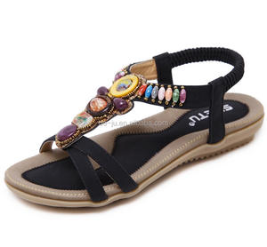 Bohemia Beads Black Women Chappals