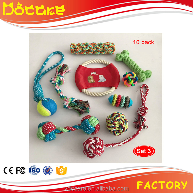 Wholesale custom dogs toys Pet Christmas ball dog rope chew toy pack