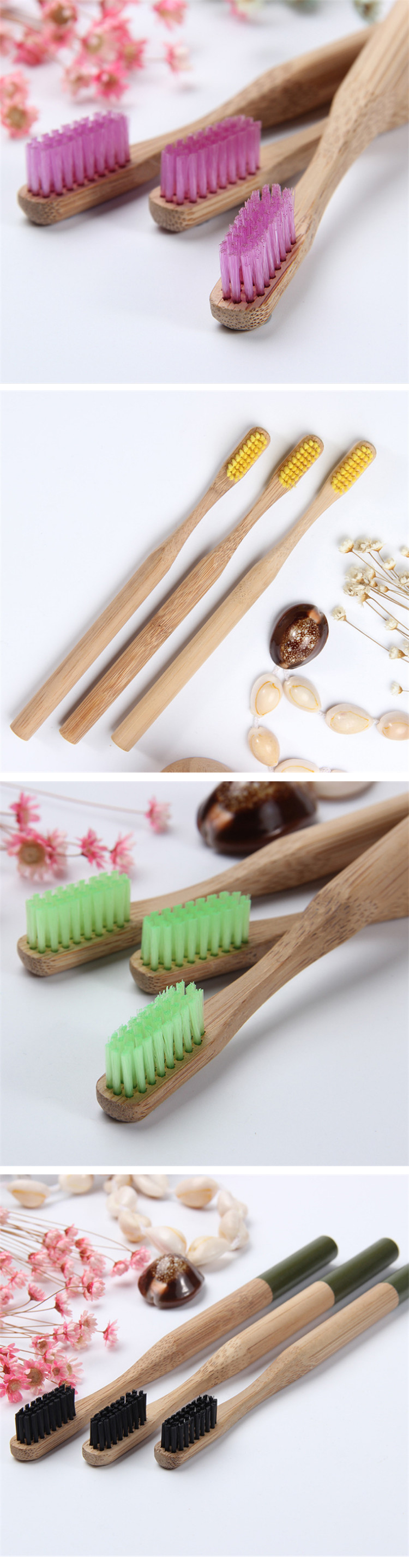 100% biodegradable Soft hair bamboo toothbrush oem
