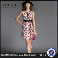 MGOO New Arrival Silk Surface Women Dress Sleeveless Peplum Dress For Ladies With Butterfly All Over Print W51012