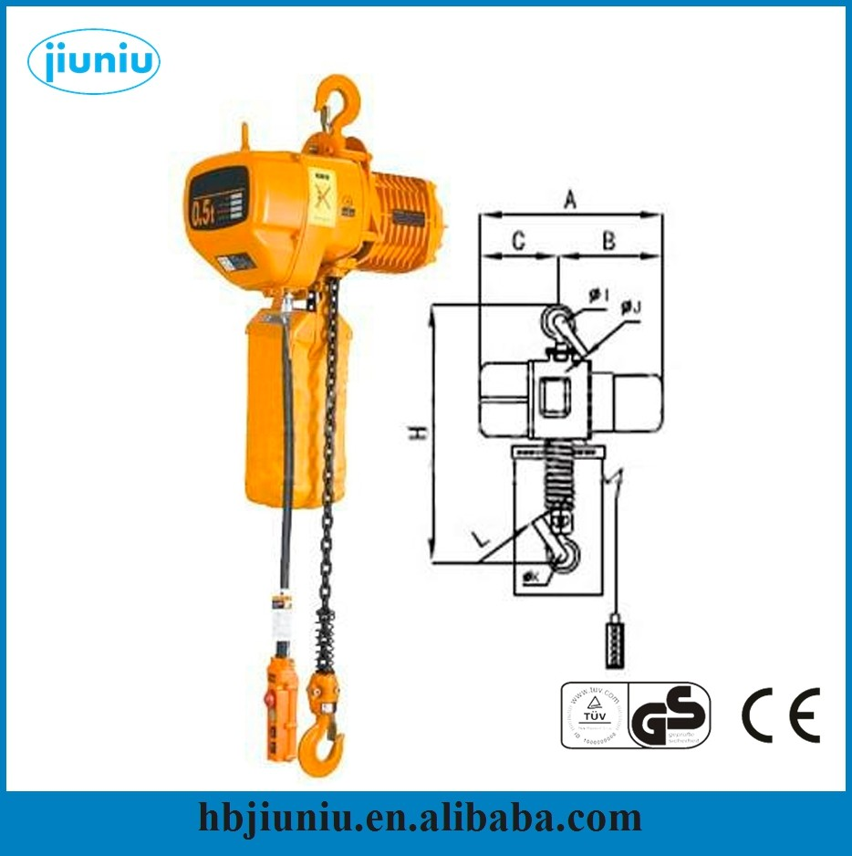 110V Small Electric Chain Hoist 1000kg made in China