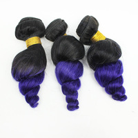 100% Human hair bundle beautiful hair weaving brazilian loose wave colored factory price ombre purple hair weaving/extension