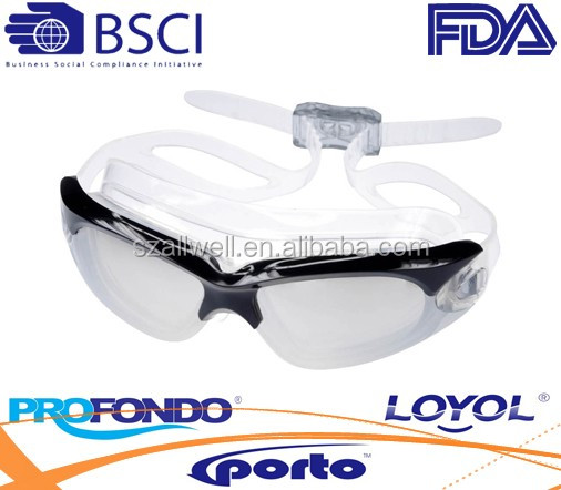 liquid silicone swimming goggle with wide angle visibility for adlut