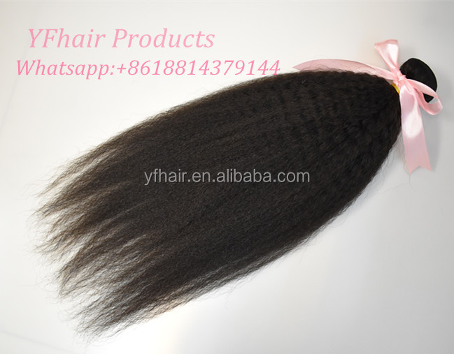 Good ratio double drawn indian remy curly hair coarse yaki hair extension