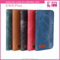 West Cowboy wallet leather flip stand cell phone case for iphone5 6 6plus