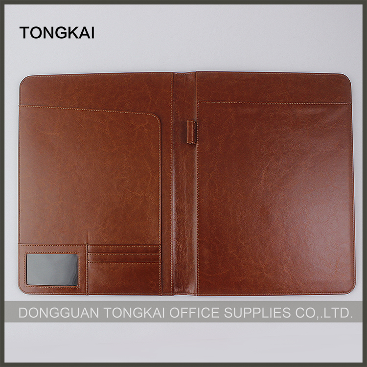 Soft Flexible Cover genuine leather portfolio folders pu folder with card slots