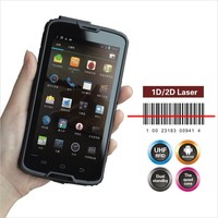 Cilico Quad Core Android PDA mobile phone with 1D 2D barcode scanner, HF UHF RFID reader writer, cradle charger for optional