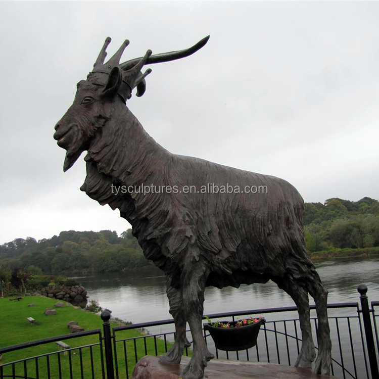 factory supplied city decoration landscape big size bronze ram goat sculpture for outdoor park ornament