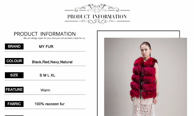 Latest design wholesale factory price long natural real fur vest