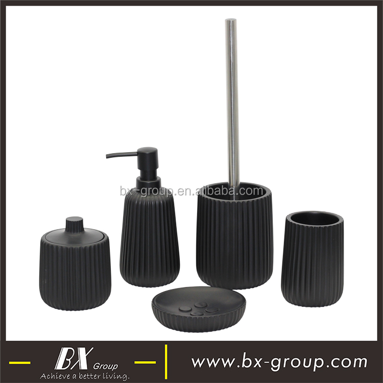 BX Group matte black polyresin bathroom set accessories vanity style with complete 5pcs set