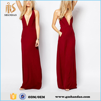 2016 Guangzhou shandao plain dyed cotton casual fashion summer red sleeveless backless long evening dress