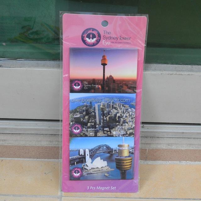 Australia tourist souvenir The Sydney Tower Eye 3pcs magnet set / paper cover printing tin metal fridge magnet