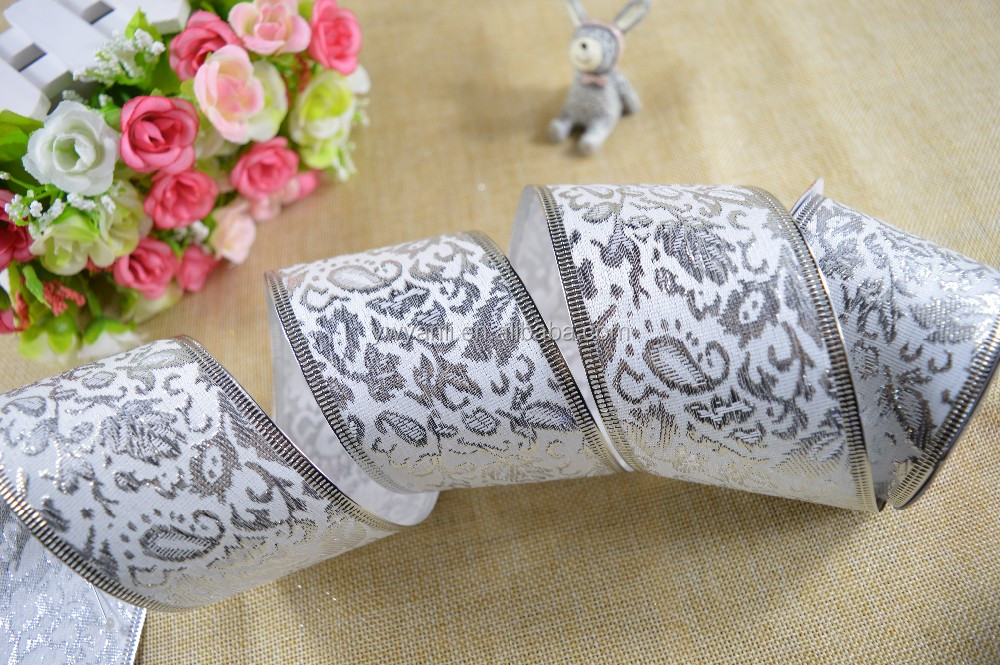 Christmas wired edge silver jacquard ribbon manufacturers