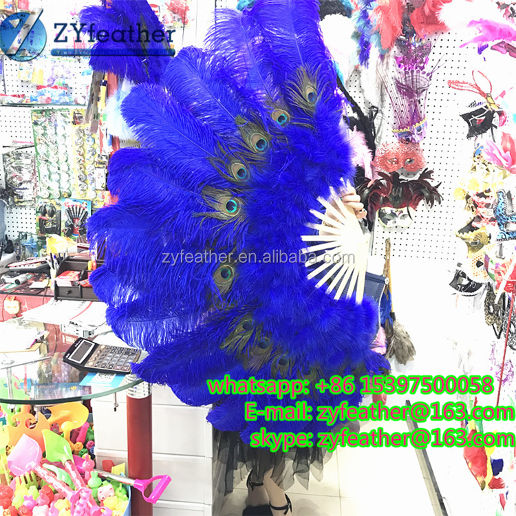 High Quality price bule peacock feather fan costume for women
