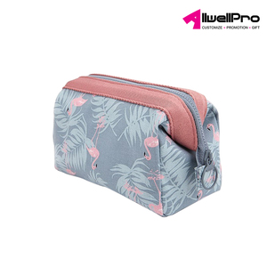 Allwell Custom Best Selling Cotton Canvas Makeup Bag Promotional Fashion Travel Waterproof Cosmetic Bag
