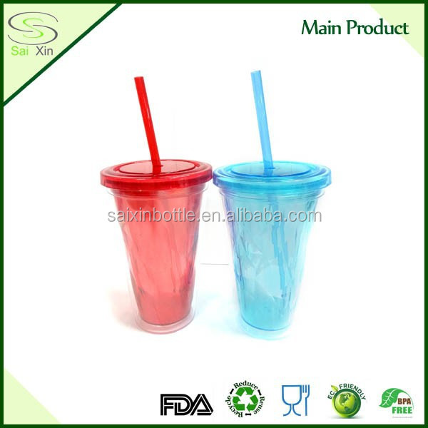 Newest Design Double Wall Plastic Tumbler/Plastic Cup With Clear Straw