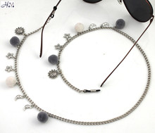 GL358 grey and white pom pom ball funny sun moon star charms ladies eyeglass chains