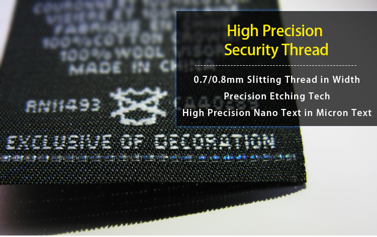 High Precision Hologram Security Thread for Woven Label