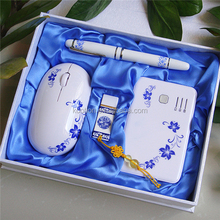 Ceramic usb flash pendrive giftset with power bank ceramic pen in gift package