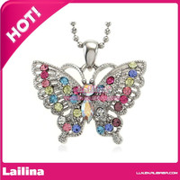 Mini Colorful Rhinestone Rainbow Pride Flying Silver Tone Butterfly pendant