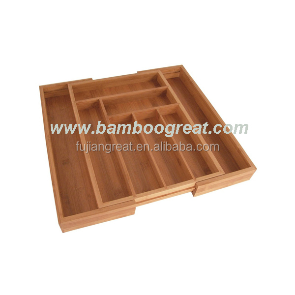 Kitchen Junk Drawer Organizer Tray Bamboo Expandable Cutlery Drawer Organizer with Adjustable Dividers