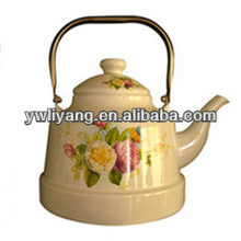 Ancient Clock Decal Yellow Enamel Kettle/Teapot With Stainless Steel Handle BY-3403 Water Kettle, FDA/SGS Proved