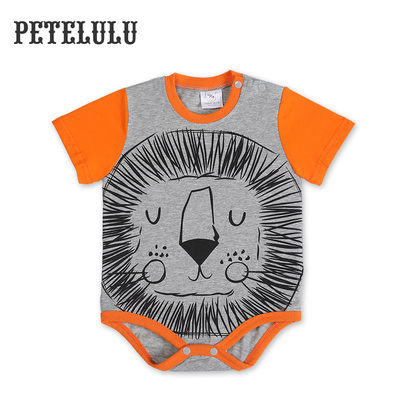 China Baby Clothes Brand Supplier Petelulu Cotton Wholesale Bodysuit Animal Lion Design Baby Romper From China