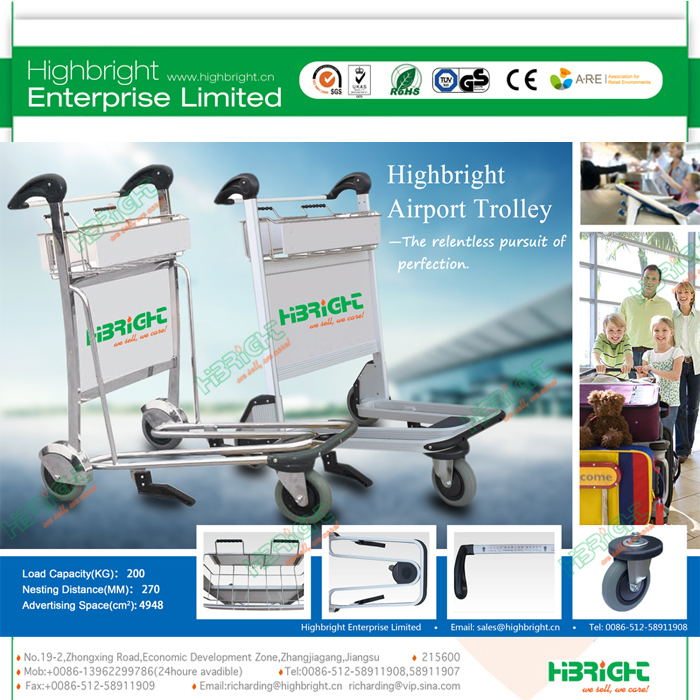 hand brake airport luggage trolley