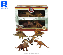 Hottest natural 5PCS of lifelike dinosaur toys plastic gift set with display box for kids