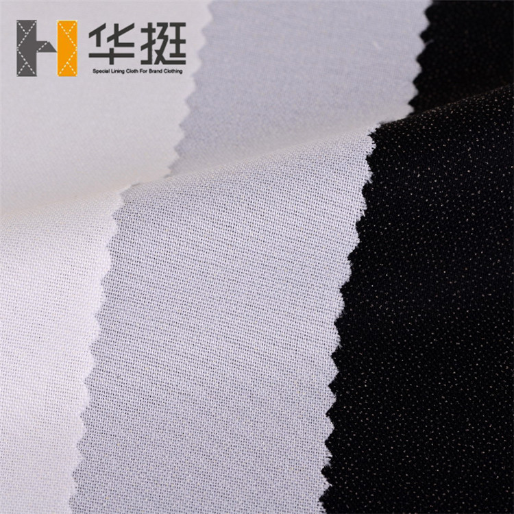55g75D 100% T7500 plain polyester adhesive lining cloth cloth lining words used for garment reinforcement after pasting crisp pl