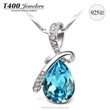 T400 jewelry 925 sterling silver pendant necklace crystals from swarovski