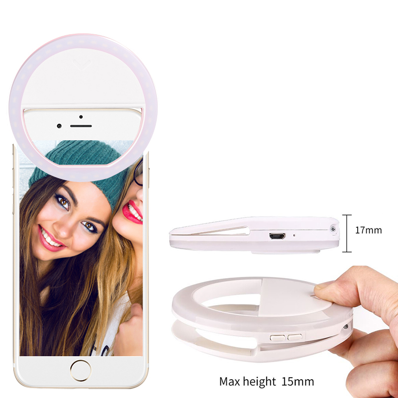Free shipping 40 white and warm led clip on smart phone selfie ring light