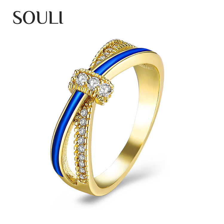 Wholesale chinese jewelry rings gold plated oil drip zircon cross wedding ring