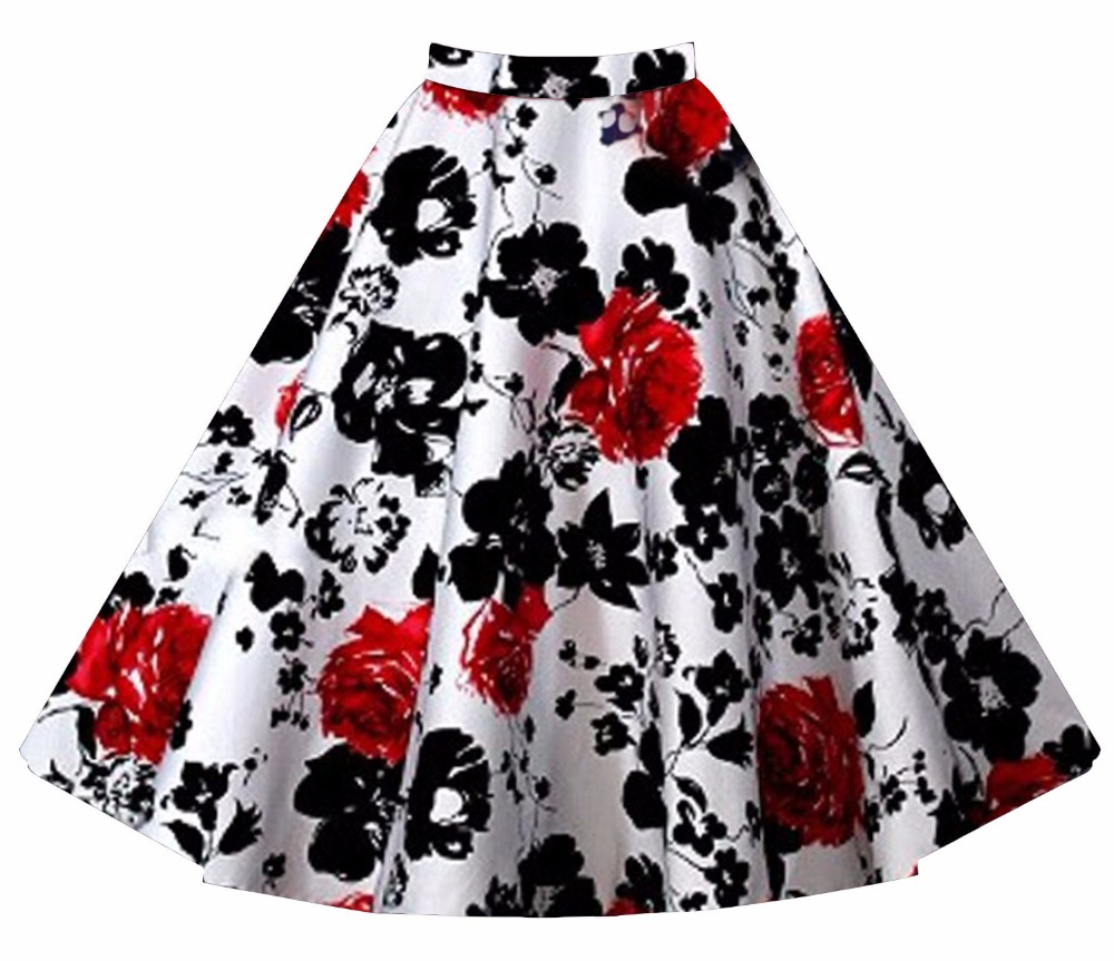 Onen Wholesale Hot Items Women High Waist 50s 60s Vintage Floral Print Skirt White and Red
