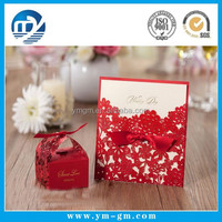 2015 New design red paper Chinese laser cut wedding invitation card