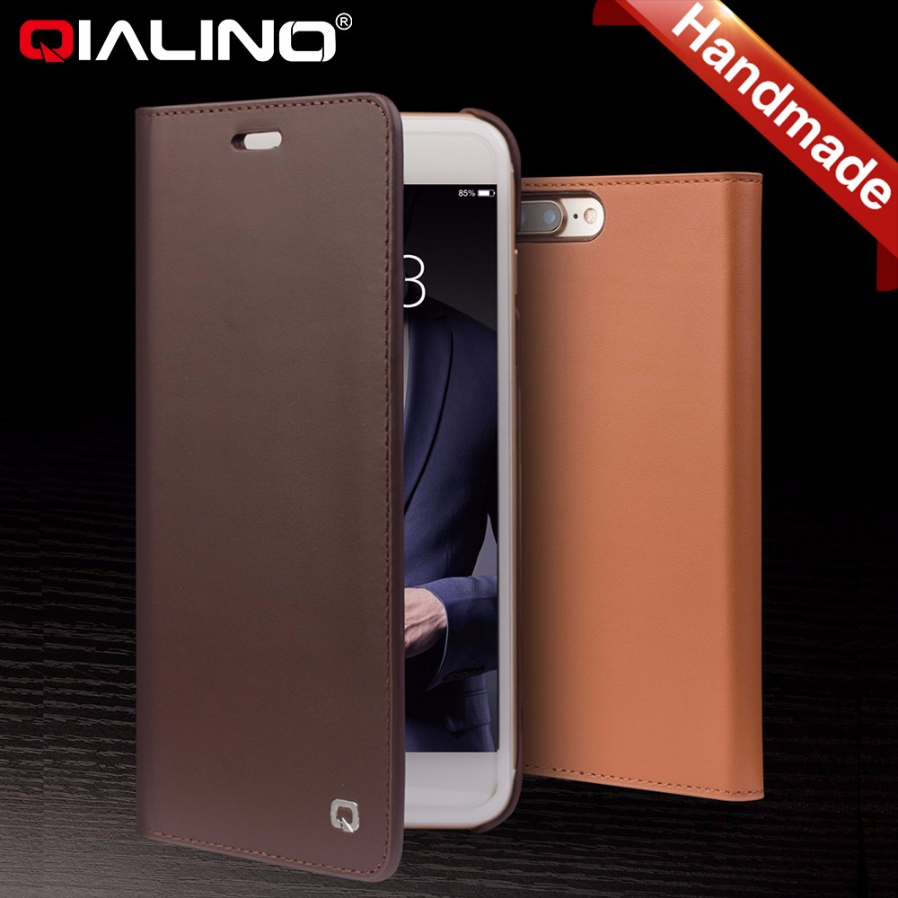 QIALINO Premium Cowhide Leather Otterboxing Flip Case For Iphone7/plus